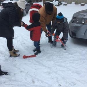 Family 3 faith with the snow balls
