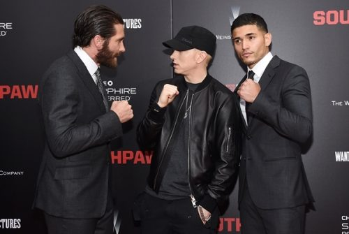 jake-gyllenhaal-eminem-and-miguel-gomez-attend-the-new-york-premiere-of-southpaw-for-the-wrap-at-amc-loews-lincoln-square-on-july-20-2015-in-new-york-city