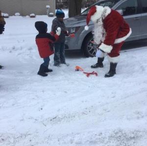 Family 3 Santa and Boys making snow balls